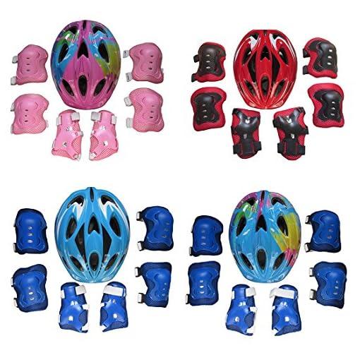 Vicoki Set de Protection Fille, Casque de Scooter Vélo Hoverboard Skateboard Roller Trotinette pour Enfants 5-13 Ans, Poignet + Coudières + Genouillères