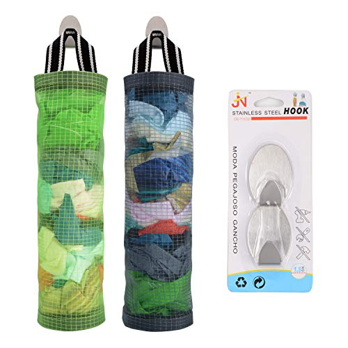 Plastic Bag Holder Sulimy Dispensers Folding Mesh Garbage Bags 2pcs Hanging Storage Bag Trash bags Holder Organizer Recycling Grocery Pocket Containers with 2 Hooks for Home and Kitchen Grey & Green