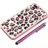 Cute Heart Snap On Cover Pink Case + Stylus Pen + Screen Film for iPhone 5 5G