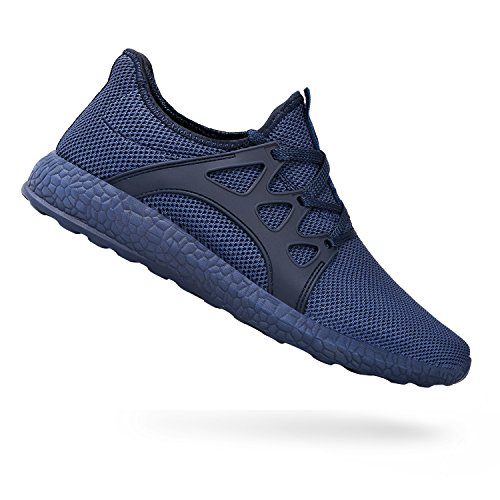 Light Blue Tennis Shoes - QANSI Men's Sneakers Ultra Lightweight Breathable Mesh Street Sport Walking Shoes Blue 10.5 D(M) US
