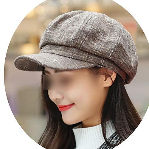 秋冬 八角形のキャップ ベレー帽子のピークキャップ 女性男性,カーキ