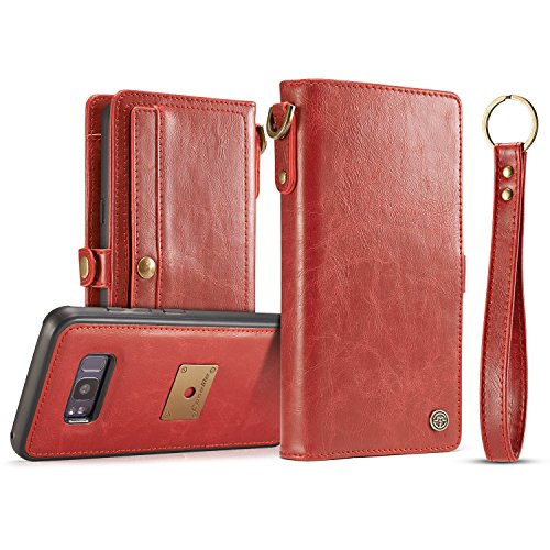 ZARO Samsung Galaxy S8 Genuine Leather Wallet Case, with Card Slots Hand Strap Key Ring Cash Pocket Detachable Magnetic Folio Flip Slim Full Smart Phone Soft Touching for Men -