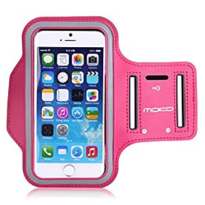 MoKo Sports Armband for Apple iPhone 6s/iPhone 6 4.7 & Samsung Galaxy S6/S6 Edge 5.1 inch, Card Slot, Sweatproof, Magenta (Size L, Compatible with Cellphones up to 5.2 Inch, Not Fit iPhone 6 Plus)