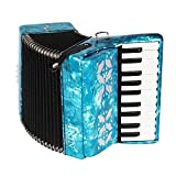 Beginner Accordion,22-key 8 Bass Piano Accordion,Made from Maple(blue)