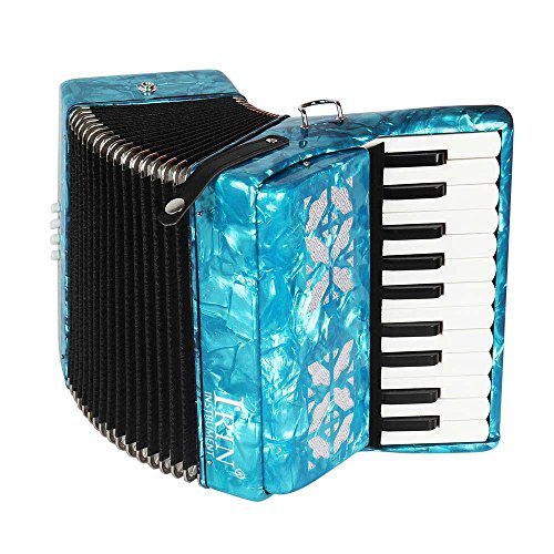 Beginner Accordion,22-Key 8 Bass Piano Accordion Musical Instrument for Beginners Students (Blue)