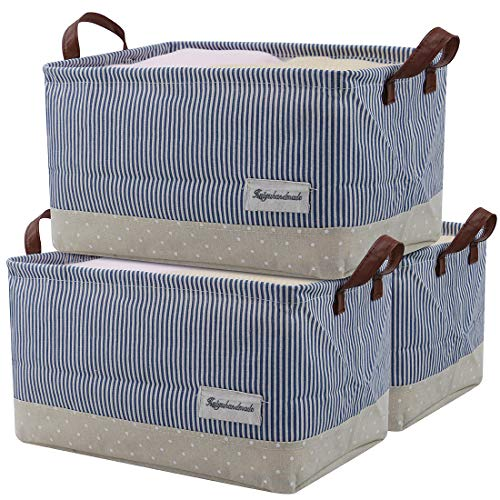 iwill CREATE PRO Househould Storage Basket with Drawstring Closure, Shelf Storage Cubes, Cotton Fabric Baby Toys Storage Bins, Pack of 3, Navy Blue