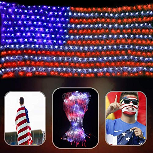 (DLIUZ Led Flag Net Lights of The United States Waterproof American Flag Light for Independence Day, Memorial Day, Festival, Garden, Indoor and Outdoor)