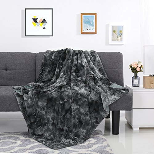 LANGRIA Luxury Super Soft Faux Fur Fleece Throw Blanket Cozy Fluffy Warm Breathable Lightweight and Machine Washable Dyed Fabric for All Season - Decorative Throw for Couch Sofa Bed (50