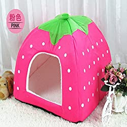 Winter Dog Bed Pet Dog House Home Foldable Soft Pet Dog Basket Kennel Nest Cave Puppy Cat House Sponge Strawberry 5 P1