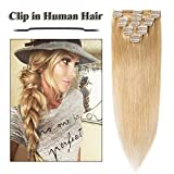 24 inch Clip in Hair Extensions Natural Blonde Remy Human Hair for Women 8pcs 18 Clips Full Head Soft Straight Hair(24'=80g #24)