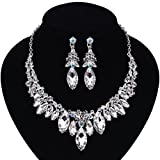 Paxuan Silver Gold Wedding Bridal Bridesmaid Austrian Crystal Rhinestone Jewelry Sets Statement Choker Necklace Earrings Sets for Wedding Party Prom (White + AB Crystal)