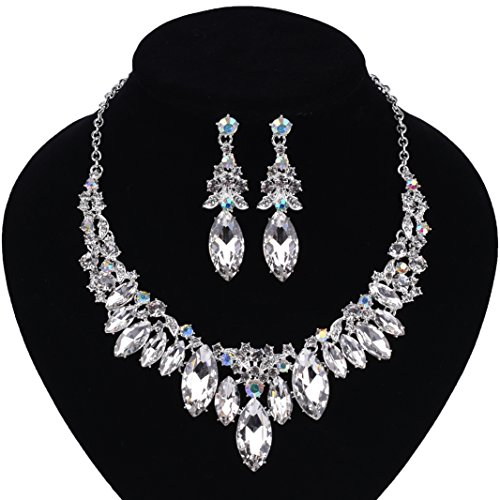 Paxuan Silver Gold Wedding Bridal Bridesmaid Austrian Crystal Rhinestone Jewelry Sets Statement Choker Necklace Earrings Sets for Wedding Party Prom (White + AB Crystal) ()
