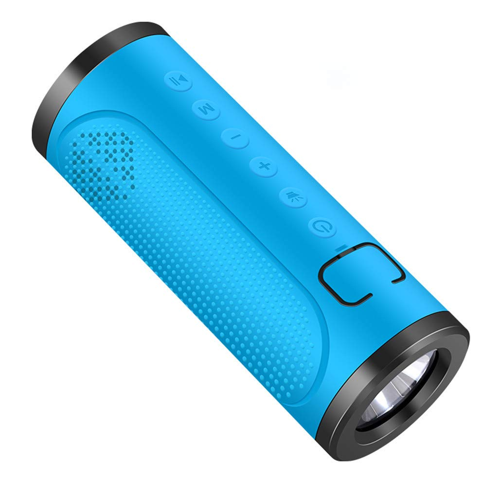 CZYCO Two in One Portable Wireless Bluetooth Speakers Noise Reduction Stereo Sound Waterproof Speakers With Flashlight(Blue) by CZYCO
