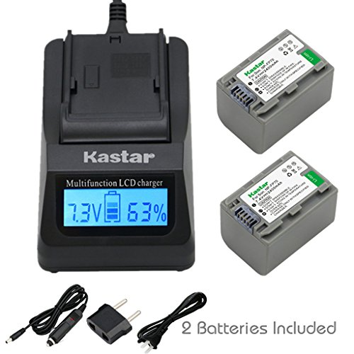 Kastar Ultra Fast Charger(3X faster) Kit and Battery (2-Pack) for Sony NP-FP70 and Sony DCR-30, DVD92, DVD103, DVD105, DVD202, DVD203, DVD205, DVD304, DVD305, DVD403, DVD404, DVD405, DVD505, DVD602, DVD605, DVD653, DVD703, DVD705, DVD755, DVD803, DVD805,  by Kastar