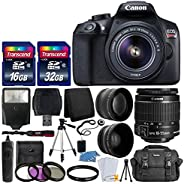 Canon EOS Rebel T6 Digital SLR Camera with 18-55mm EF-S f/3.5-5.6 is II Lens + 58mm Wide Angle Lens + 2X Telep