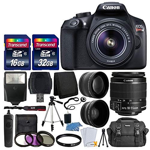 Canon EOS Rebel T6 Digital SLR Camera with 18-55mm EF-S f/3.5-5.6 is II Lens + 58mm Wide Angle Lens...