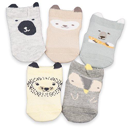 CoCoCute Baby Infant Socks 5 Pack Kids Socks Toddlers Socks Girls Boys Cotton Socks (XS(0-12M), (1 Organic Baby Apparel)