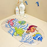 FEIDOL Non Slip Baby Bath Mat with Suction Cups for Tub, Shower, Mildew Resistant, Natural PVC, 27 x 15 Inch Cute Pattern Design, Bathtub Mat for Kids (Halobios)
