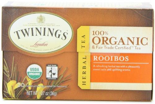 Twinings of London Organic and Fair Trade Certified Rooibos Herbal Tea Bags, 20 - Tea Twining Rooibos