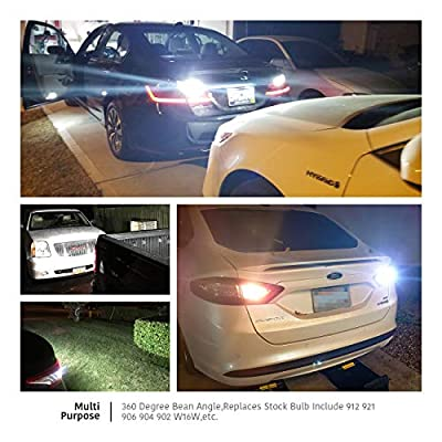 LUYED Extremely Bright 2200 Lumens Backup Reverse Lights 921 912 W16W 3030 20-EX Chipsets With Lens, Xenon White: Automotive
