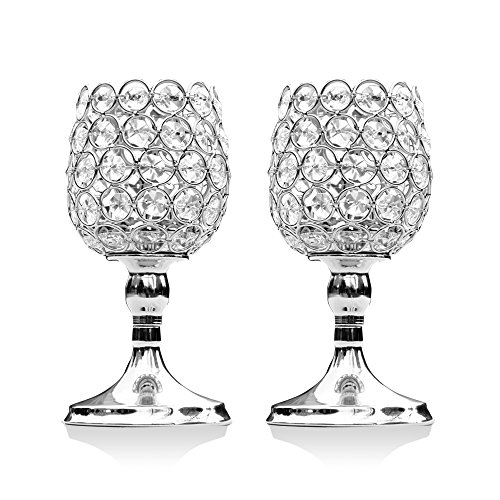 Flower Bead Frame (VINCIGANT 2 PCS Silver Glass Lantern/Candle Holders for Mothers Day Gifts,8 Inches Tall)