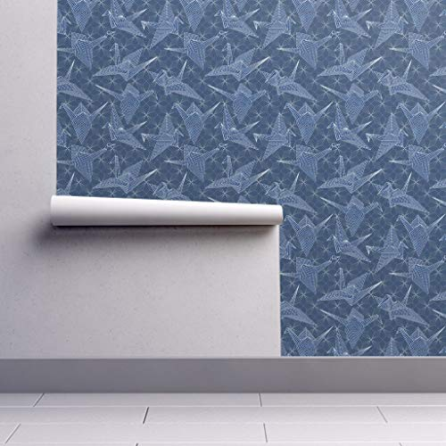 Peel-and-Stick Removable Wallpaper - Sashiko Blue Birds Japanese Embroidery Faux Origami by Vo Aka Virginiao - 24in x 108in Woven Textured Peel-and-Stick Removable Wallpaper Roll