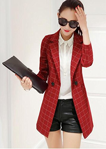 Enlishop Womens Vintage Check Plaid Long Sleeve Casual Long Jacket Blazer, US 10,ASIAN 3XL, Red Photo #3