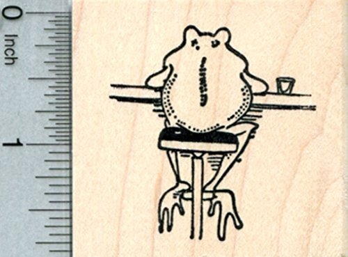 Frog at Tavern Rubber Stamp, on Bar Stool, Ale House Series