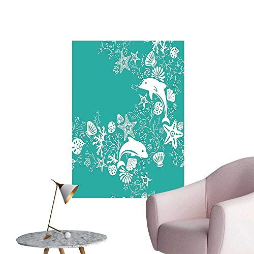 """Wall Decorative Animals Dolphins and Flowers Sea Floral Pattern Starfish Coral Seashell Wallpaper Pa Pictures Wall Art Painting,24""""W x 44""""L"""