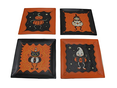 Ceramic Decorative Plates Pumpkin Peeps 4 Piece Set Of Vintage Style Halloween Ceramic Plates 8 X 0.75 X 8 Inches Multicolored (Plates Ceramic Halloween)