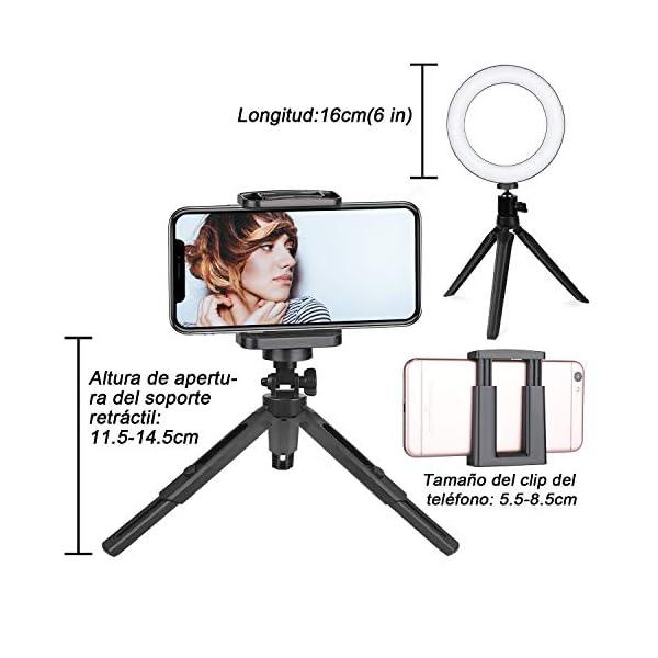 Usa el soporte de este aro de luz led como trípode para tu móvil y saca selfis de forma muy fácil