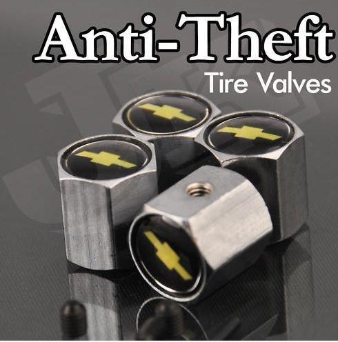 Chevy Logo Anti-Theft Tire Valve Caps ()