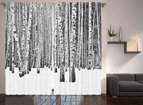 Ambesonne Farm House Decor Collection, Birch Forest in Snow Winter Time Landscape Picture, Window Treatments, Living Boys Girls Room Curtain 2 Panels Set, 108 X 90 Inches, White and Grey - White Birch Farm