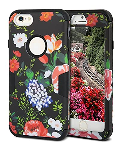 iPhone 6S Case,iPhone 6 Case,TOPSKY[Heavy Duty]Three Layers Rugged Armor Shockproof Soft Silicone Anti-Scratch Anti-Fingerprint Hard PC Hybrid Protective Case for iPhone 6/6s,Flower 2 (Iphone 6 Case Armor Rugged Black)