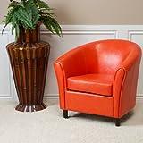 Newport Orange Leather Club Chair