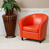 Great Deal Furniture Newport | Leather Club Chair | in Orange Review