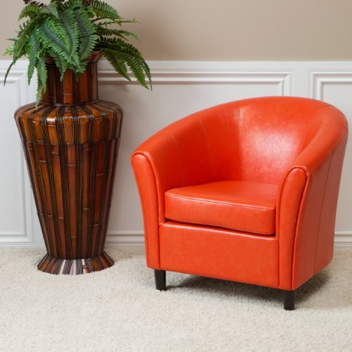 Christopher Knight Home 213807 Napoli Bonded Leather Club Chair, Orange