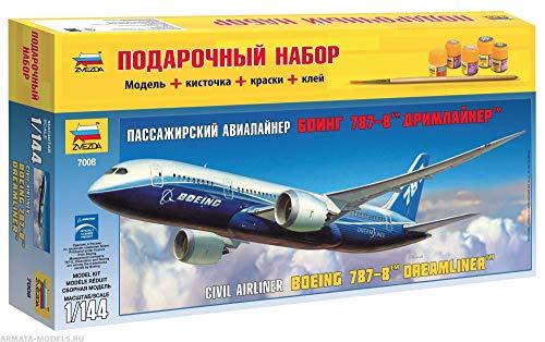 ZVEZDA 7008 P Civil Jet Airliner Boeing 787-8 DREAMLINER Gift Set (Paints Included) Plastic Model Kit Scale 1/144 78 Details Lenght 17