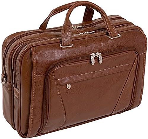 """Black McKlein Irving Park Double Compartment Leather 15.4/"""" Laptop Briefcase"""
