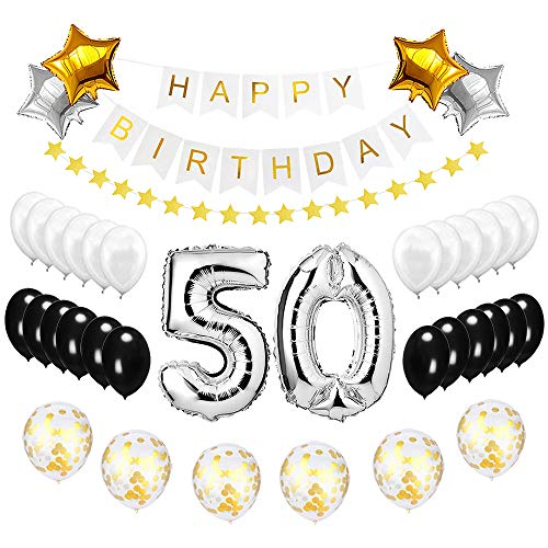 Best Happy to 50th Birthday Balloons Set - High Quality Birthday Theme Decorations for Fabulous 50 Years Old Party Supplies Silver Black Gold ()
