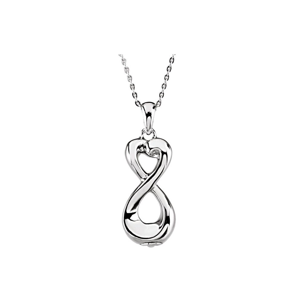 Infinity Love Ash Holder Pendant Necklace in Sterling Silver