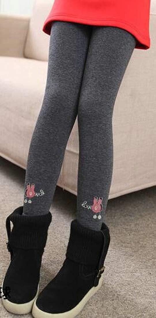 Etecredpow Girls Pants Fleece Printed Stretchy Slim Fit Fashion Thicken Legging