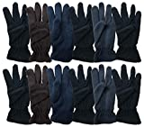 Yacht & Smith 12 Pairs Value Pack of Unisex Warm Winter Fleece Gloves, Many Colors, Mens Womens, One Size (Assorted Dark)