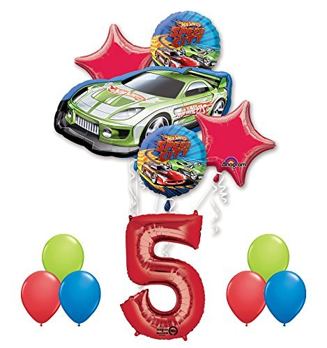 Hot Wheels Birthday Party (Hot Wheels 5th Birthday Party Supplies and Balloon Decorations)