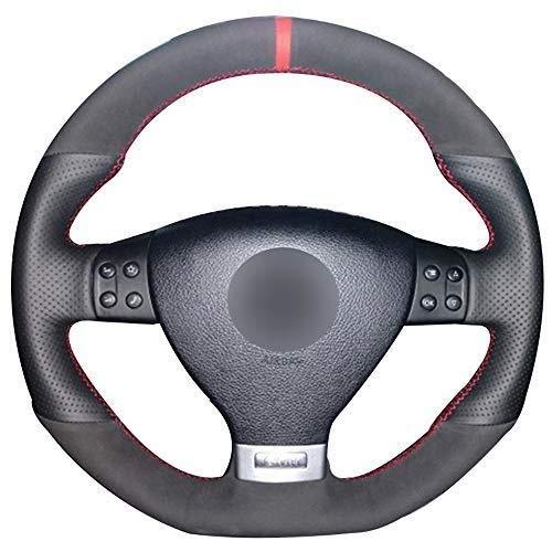 (Car Steering Wheel Cover,Black Natural Leather Black Suede Red Marker Steering Wheel Cover for Volkswagen Golf 5 Mk5 GTI VW Golf 5 R32 Passat R GT 2005)
