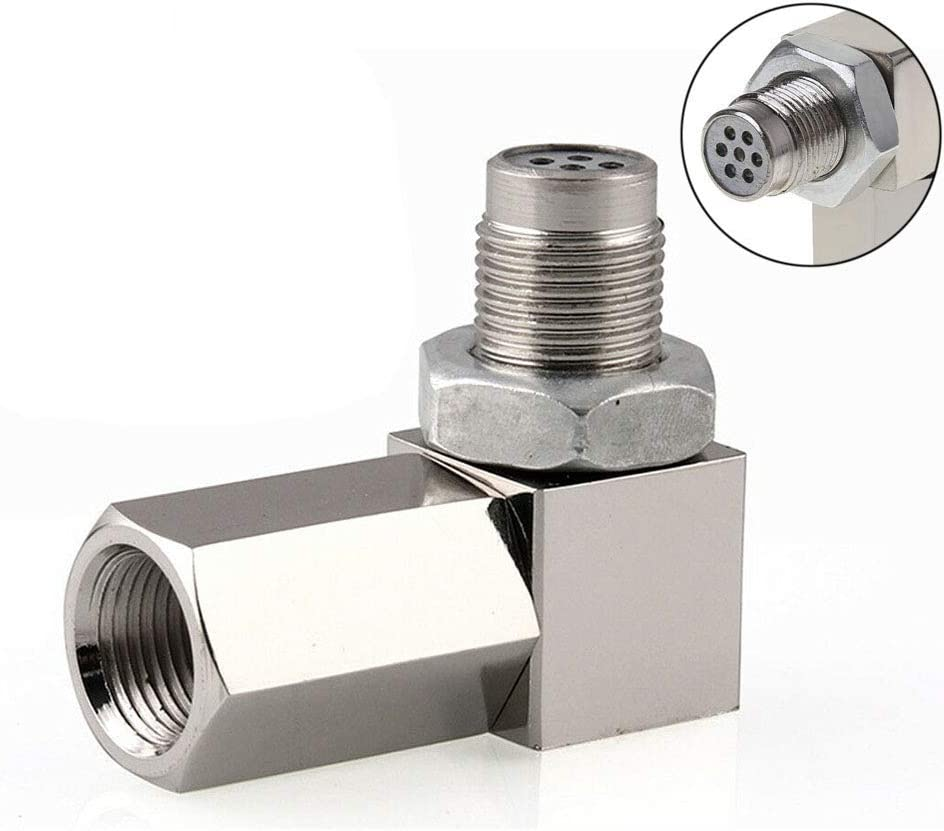 Stainless Steel O2 Oxygen Sensor,2 PCS M18X1.5mm 90 Degree O2 Sensor Adapter