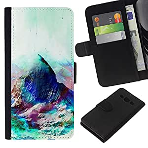 KLONGSHOP // Tirón de la caja Cartera de cuero con ranuras para tarjetas - Geometría psicodélico Montaña - Samsung Galaxy A3 //