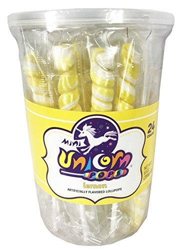Adams Brooks Mini Unicorn Pops , Lemon Yellow 10 Oz ( 24 Count )