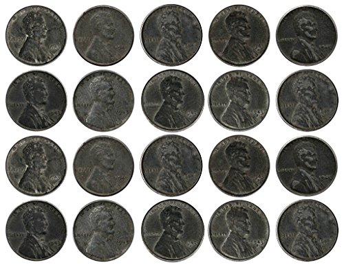 1943 Various Mint Marks Count of 20 Genuine World War II WWII Steel Pennies P, D & S Mint Marks All Grade Better...