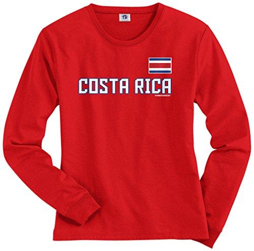 Threadrock Women's Costa Rica National Pride Long Sleeve T-Shirt M Red